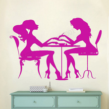 Art Salon Sticker Girls Women Wall Decoration Nails Art Polish Manicure pedicure Beauty Salon Colorful Design Poster Mural LY52 salon design 05