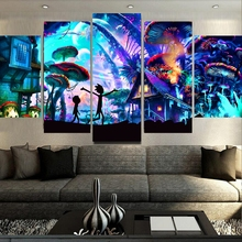 Canvas Wall Art 5 Piece Rick And Morty HD Print Painting For Living Room Modern Decorative Artwork