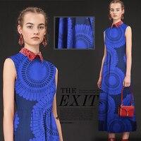 Blue Silk Cotton Satin Sunflower Ultra Foreign Gas Fabrics Silk Silk Fabrics Silk Satin Fabrics Fabrics