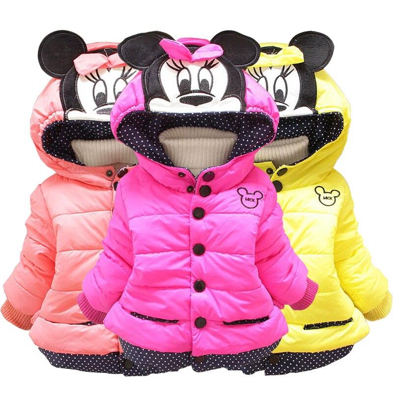 Girls Jacket Cotton Warm Mickey Minnie Jacket For Baby Girls Autumn Winter Girls Coat Lovely Kids Outerwear Children Clothes