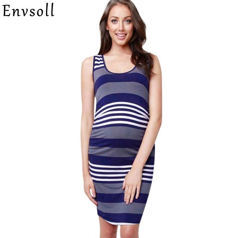 Envsoll Maternity Dresses Nursing Clothes 2018 Breastfeeding Dress Pregnant Striped Summer Sleeveless Dress For Pregnant Women