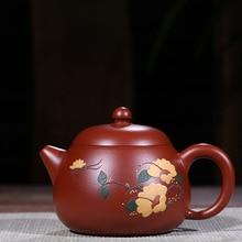 Технология дивизии ручной НЕОБРАБОТАННАЯ руда ярко-красный халат живопись Pomelo чайник специальная кунгфу онлайн чайник чайный сервиз