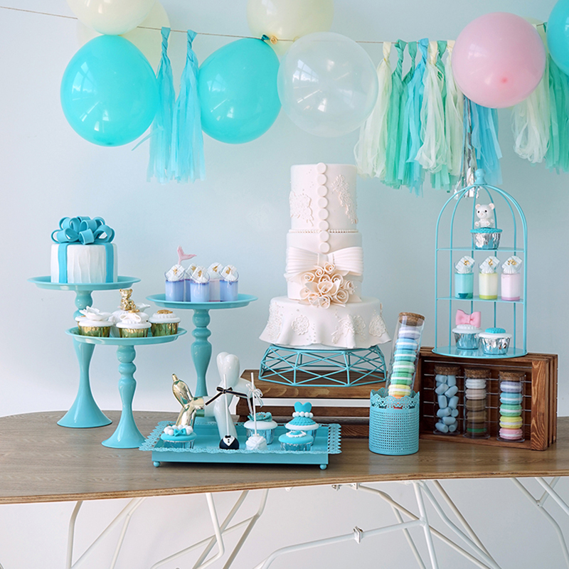 Super Us 10 36 26 Off Sweetgo Baby Blue Cake Stand Cupcake Tray Cake Tools Home Decoration Dessert Table Decorating Party Suppliers 3 Tiers Birdcage In Interior Design Ideas Clesiryabchikinfo