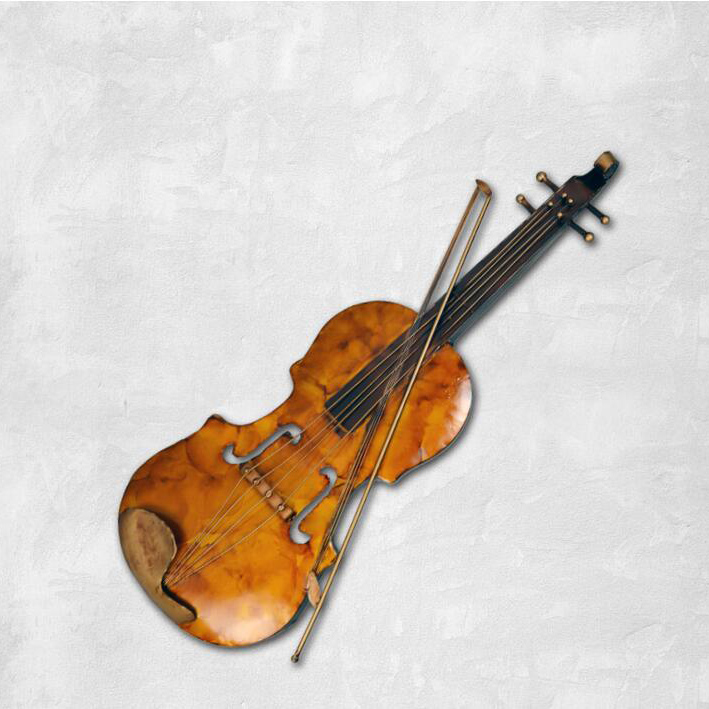 Shabby Chic Wall Decor Brown Violin Model Iron Craft Wall ...