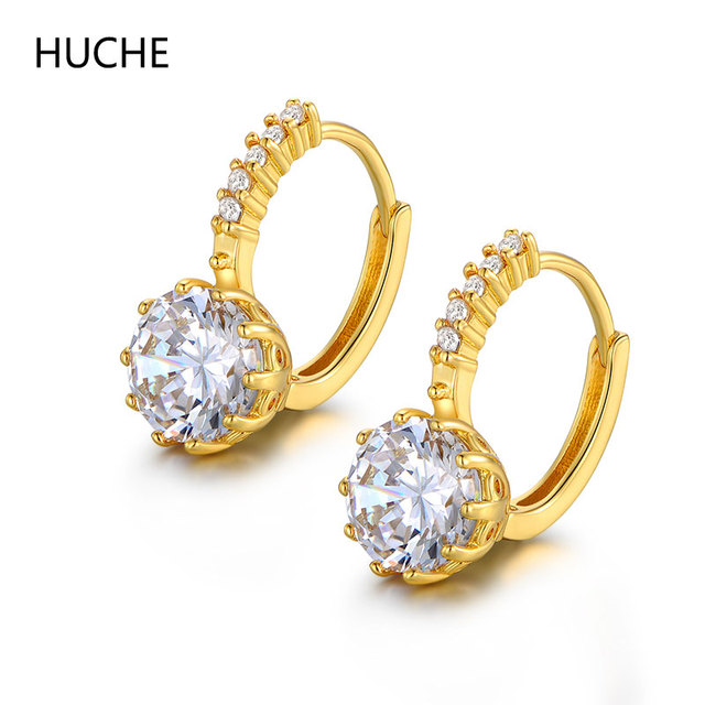 Huche Creative Jewelry Fashion Women Earrings Yellow Gold Color Huggie Hoop Stylish Cubic Zirconia
