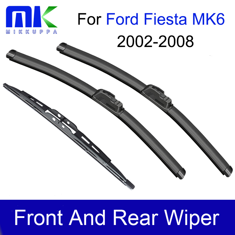 Front & Rear Wiper Blades For <font><b>Ford</b></font> <font><b>Fiesta</b></font> 6 2002 <font><b>2003</b></font> 2004 2005 2006 2007 2008 Windshield Windscreen Wiper Auto Car <font><b>Accessories</b></font> image