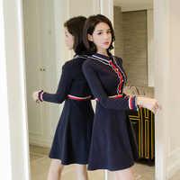 Debowa Vintage Dress Women 2018 New Autumn Winter Womens Dresses Long Sleeve Square Collar Slim Princess Dress School Dress