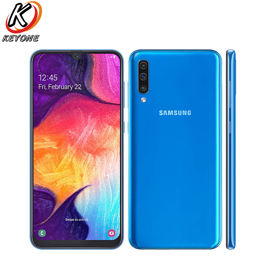 """New Samsung Galaxy A50 A505F-DS LTE Mobile Phone 6.4"""" 6GB RAM 128GB ROM Exynos 9610 Octa Core Android 9.0 Dual SIM Smart Phone"""