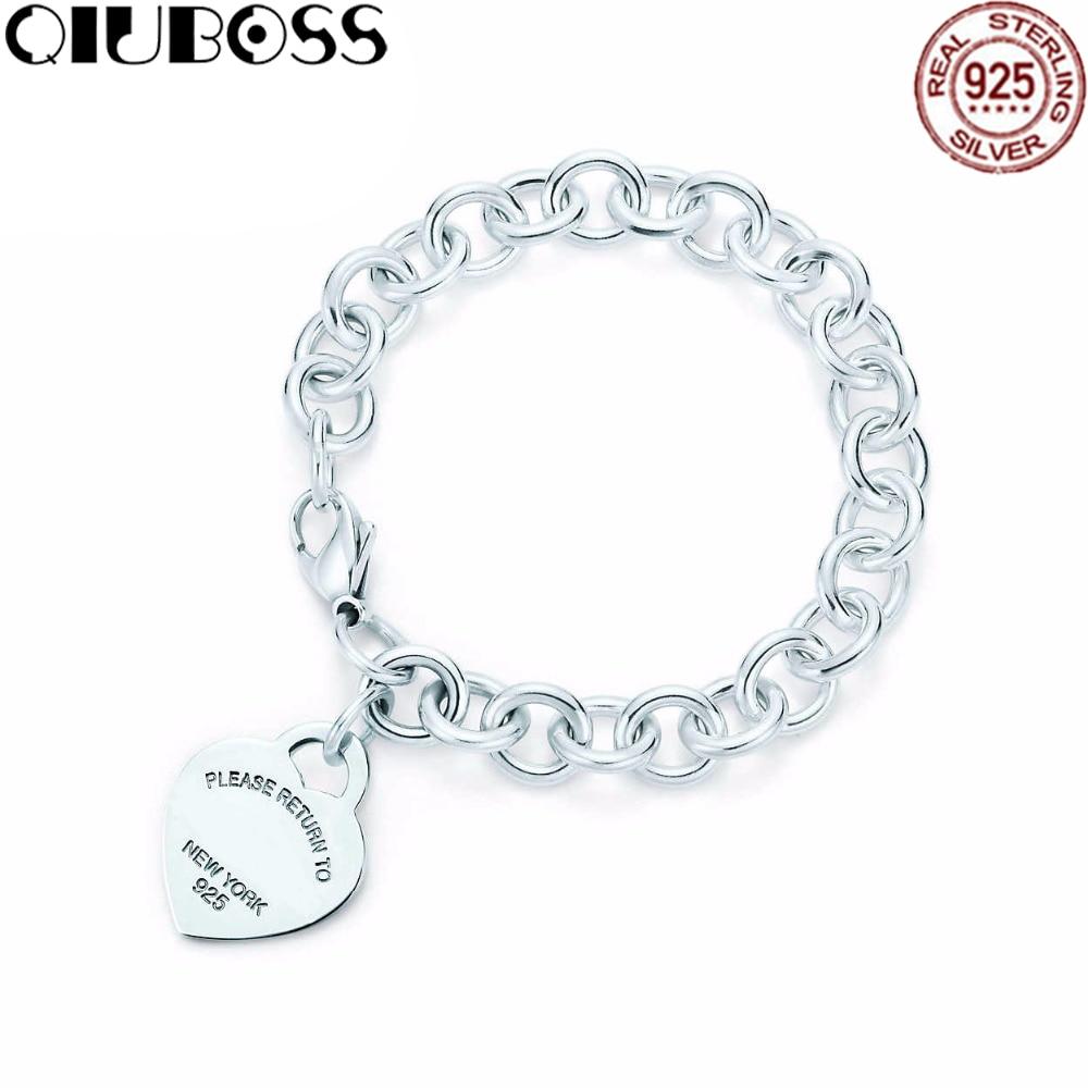 QIUBOSS Heart-Shaped Lock Bracelet TIFF 925 Sterling Silver DIY Gift Jewelry Fashion Bracelet Factory Outlets Jewelry цена
