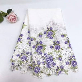 Cassiel African Lace Fabric Purple Guipure Lace Fabric 2018 High Quality Nigerian Cord Lace Fabric For Wedding Dress