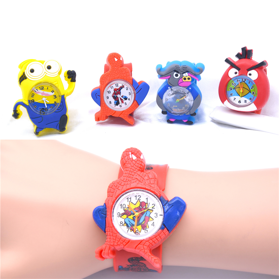 Hot Sell Child Watch Cute Sport Boys Spiderman Watches Cartoon Image Silicone Strap Wristwatch Horloge Jongens