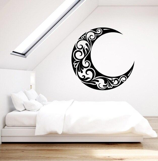 Vinyl wall applique crescent moon bedroom living room home art deco wallpaper 2WS18