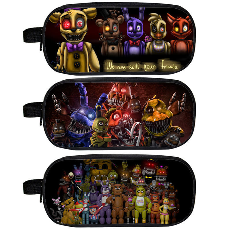 Five Nights At Freddy`s Cosmetic Cases Pencil Holder Chica Bonnie Fazbear Freddy Case School Children Makeup Bag Kids Cases