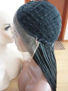 Image 5 - Sylvia peruca de renda trançada, 1b # cor sintética perucas para as mulheres de cabelo de fibra resistente ao calor premium trança