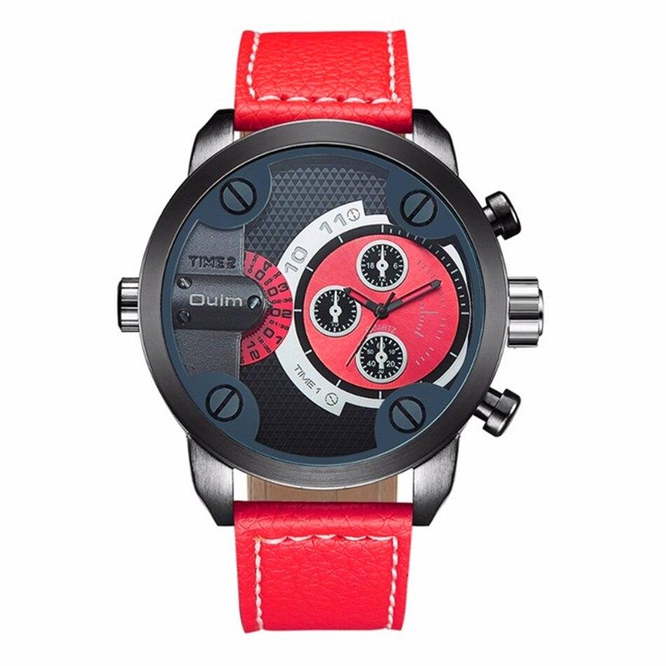 Unique Design Dual Time Leather Band Fashion Quartz Watch
