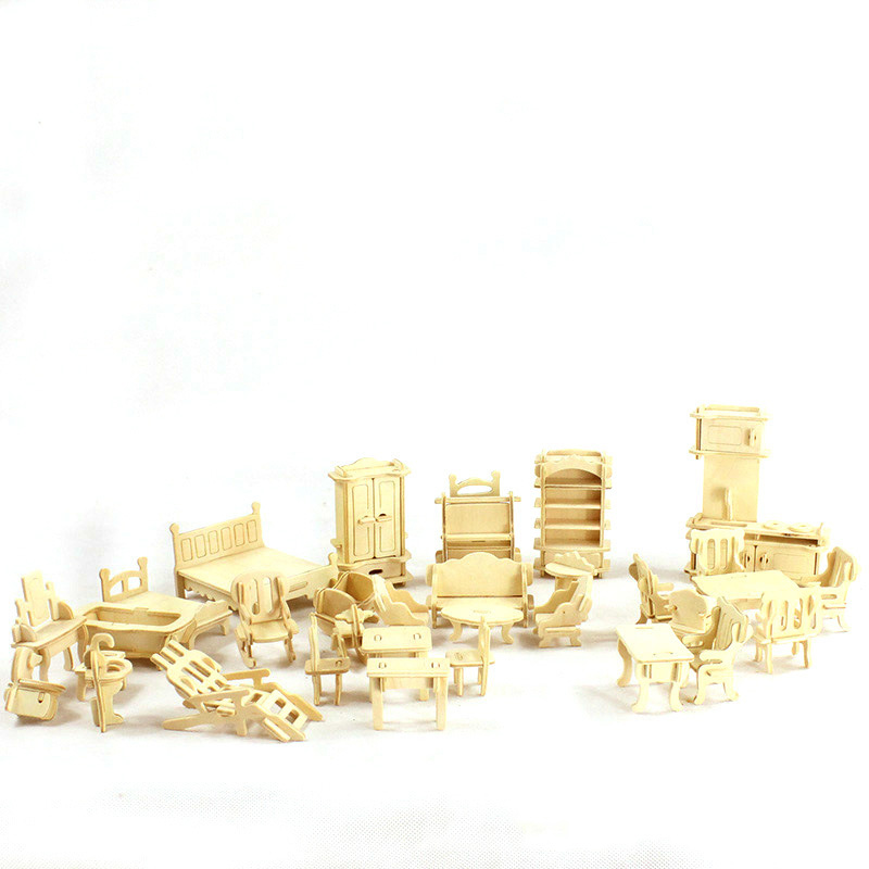 34 pcs ensemble 3D Bois Mini Meubles Puzzle Mini Poupée Maison Assemblé  jouets 0c21129fb91