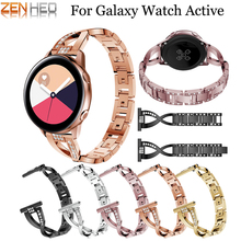 20mm Watch band For Samsung Galaxy 42mm Strap Replacement Metal Rhinestone Active