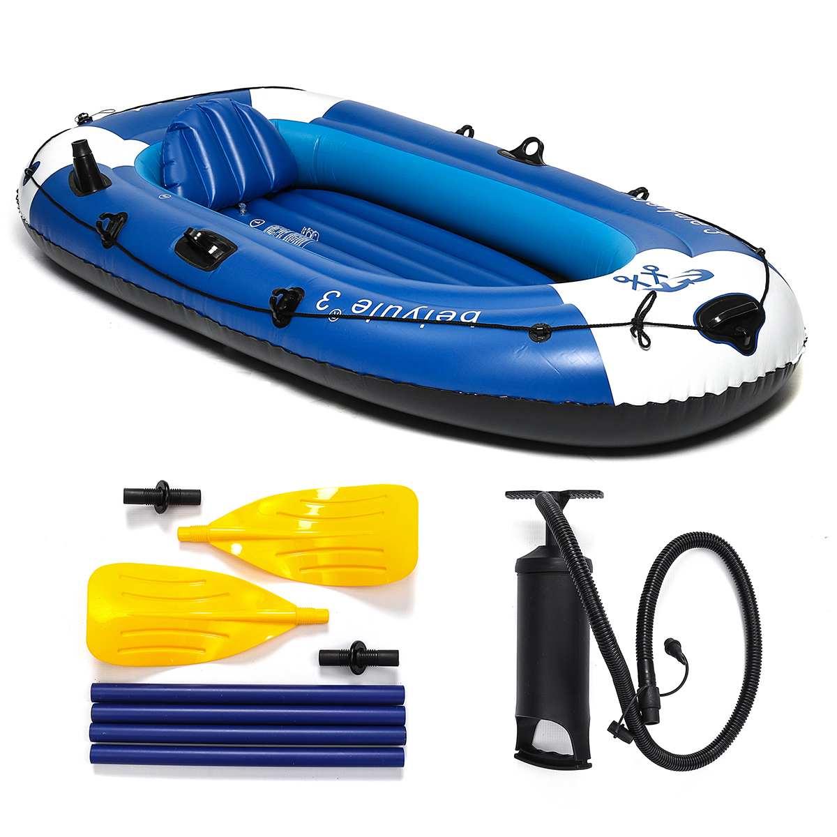 SGODDE 225x127 cm 3 personnes bateau à rames gonflable portant 210 kg Durable PVC caoutchouc bateau de pêche ensemble avec pompe à palettes autre ensemble