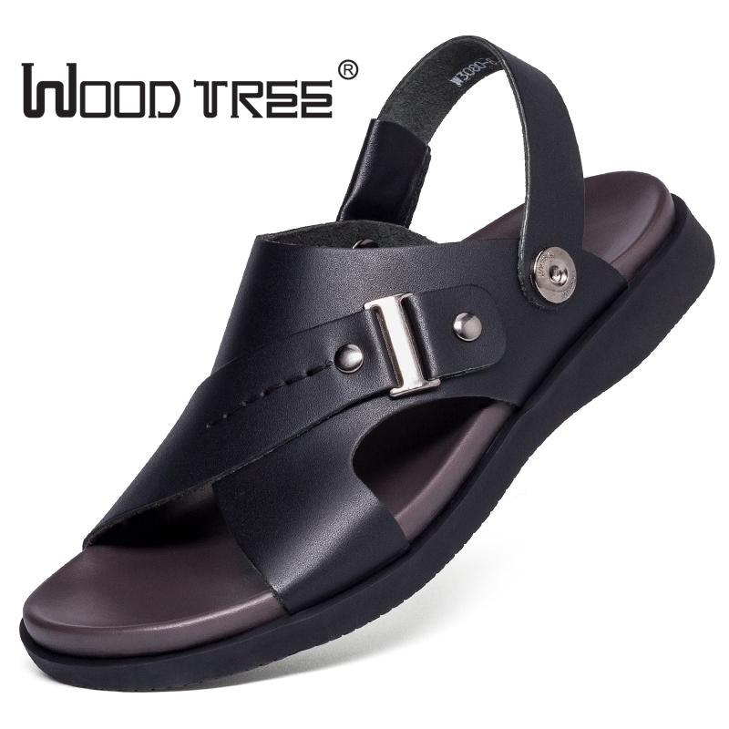 Træ træ mærke ægte læder sommer bløde sandaler for mænd at - Mænds sko