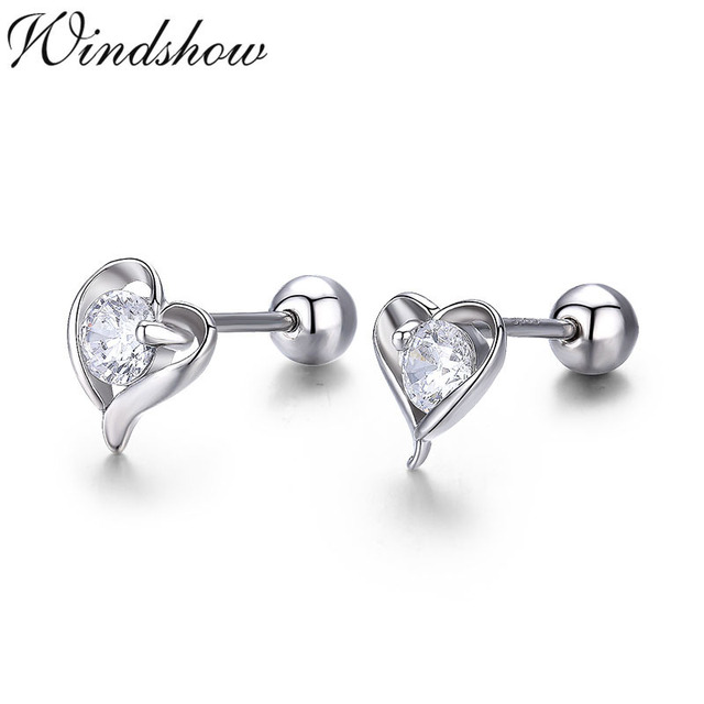 459fe89045ef Cute Small Heart Set AAA CZ 925 Sterling Silver Screw Stud Earrings For  Women Girls Children