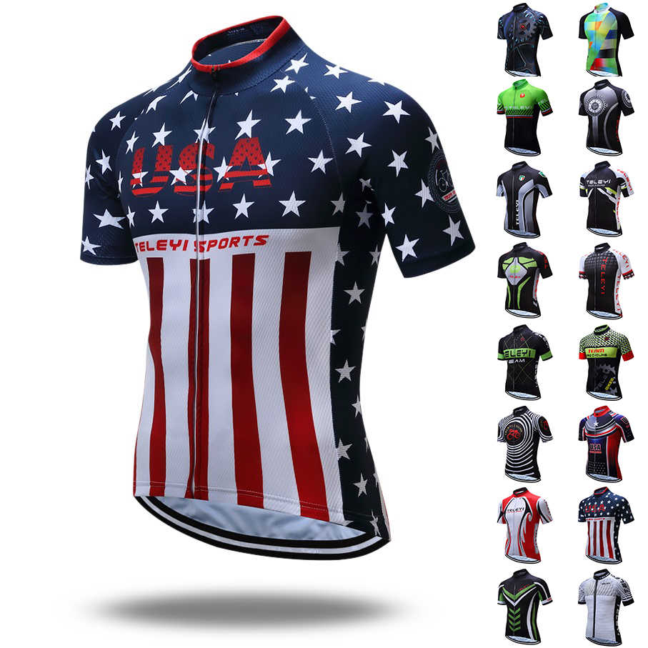 TELEYI Pro Cycling Jersey Racing Sport USA Bicycle Cycling Clothing Short  mtb Bike Jersey Breathable Quick 79bab74ee