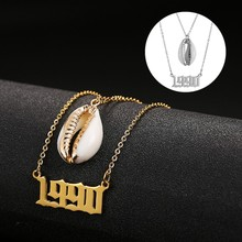 Personalized Custom Shell Necklace Year Number 1980-2019 Stainless Steel 2 Layered Pendant Choker Birthday Gifts
