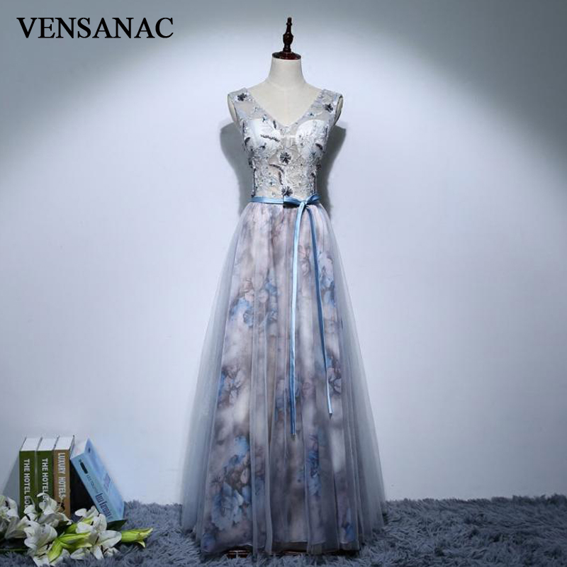 VENSANAC 2018 A Line Lace Embroidery V Neck Long Evening Dresses Elegant Sash Party Crystal Flowers Backless Prom Gowns in Evening Dresses from Weddings Events