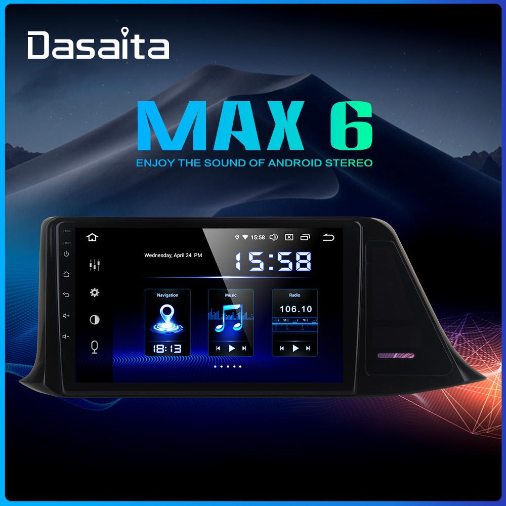 Dasaita Autoradio 1din Android 9.0 Car Radio for Toyota C-HR CHR 2016 2017 2018 GPS Car Stereo 9 IPS Screen 64GB ROM