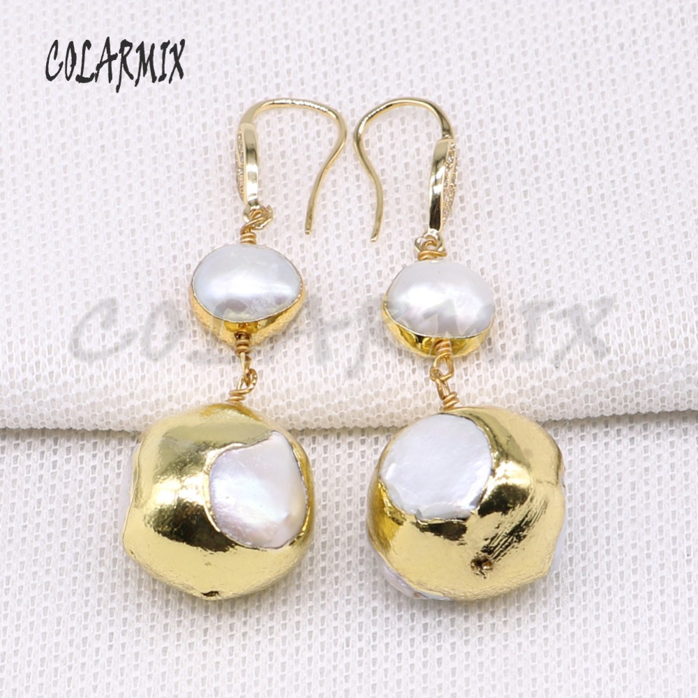 Wholesale 3 pairs electroplate Golden color Natural pearls earrings elegant long jewelry earrings gift long pearls earring 4024