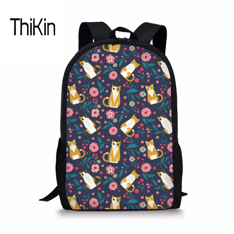 THIKIN Cat Japanese School Bag For Girls Kids Shoulder Book Bags Women Leisure Schoolbag Travel Rucksack High Quality Backpakcs
