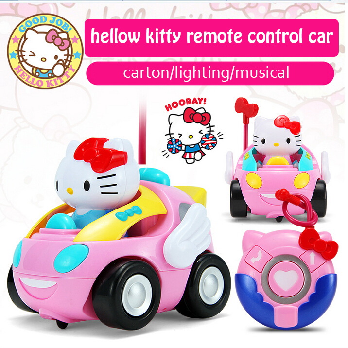 original box children rc toy hello kitty kt cat remote control car doraemon pink electronic music