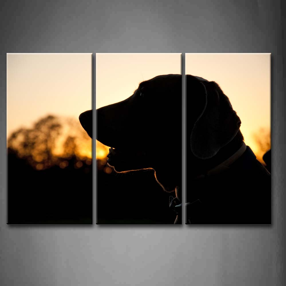 Framed Wall Art Pictures Dog Sunset Canvas Print Artwork Animal Modern Posters With Wooden Frames For Living Room DecorFramed Wall Art Pictures Dog Sunset Canvas Print Artwork Animal Modern Posters With Wooden Frames For Living Room Decor