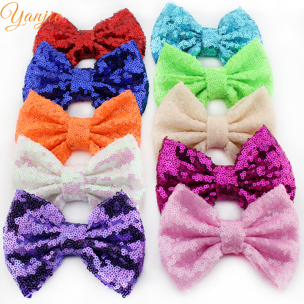 43 Colors Hot sale 5 Sequins Hair Bows Without clip Festival Kids DIY Handmade Barretes Hair