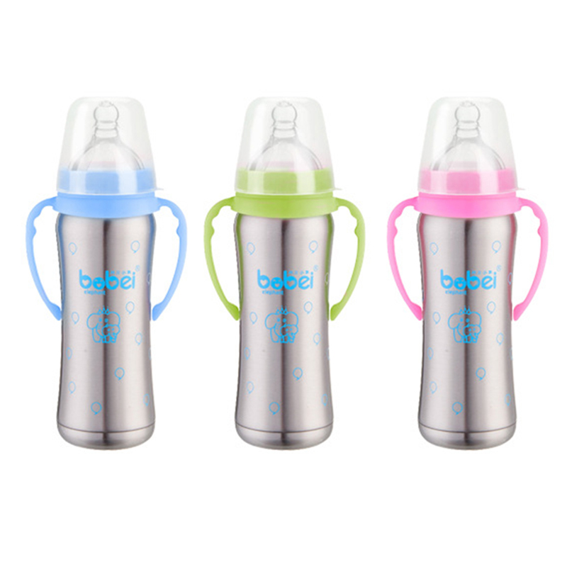 1 Bottle 3 Nipple 240ML Stainless Steel Insulation Bottle Baby Drinking Cups Wide Mouth Thermos Handle P10