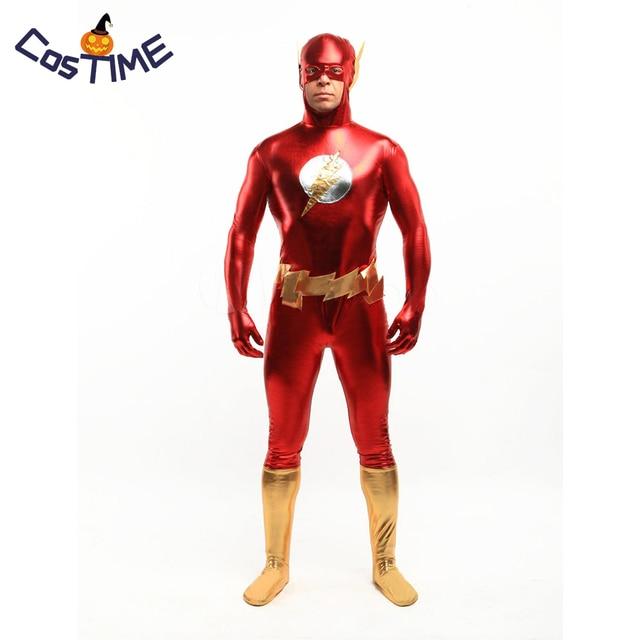 04c1c3db736a The Flash costume for Adult Men Second Skin Full bodysuit Zentai Shiny  Metallic Superhero Costume Carnival Costume Custom