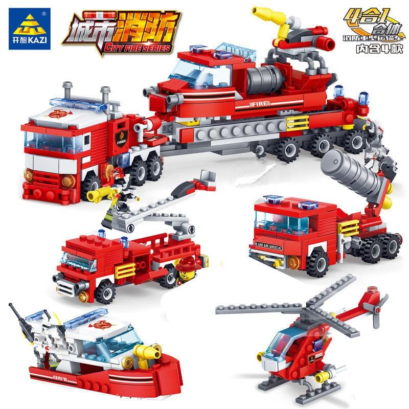 348Pcs 4 EM 1 Cidade Caminhões de Combate A Incêndio Helicóptero Car Boat Building Blocks Set Bombeiro LegoINGs Bricks Brinquedos de Natal presentes