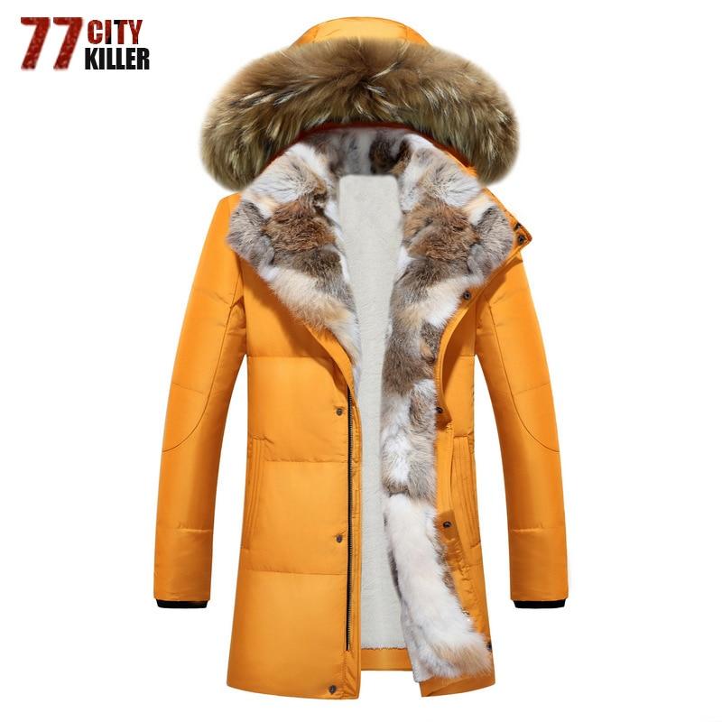 Long Parkas à capuche hommes épais blanc canard vers le bas chaud Couple hiver veste grande taille 5XL fourrure col pardessus parkas hombre invierno