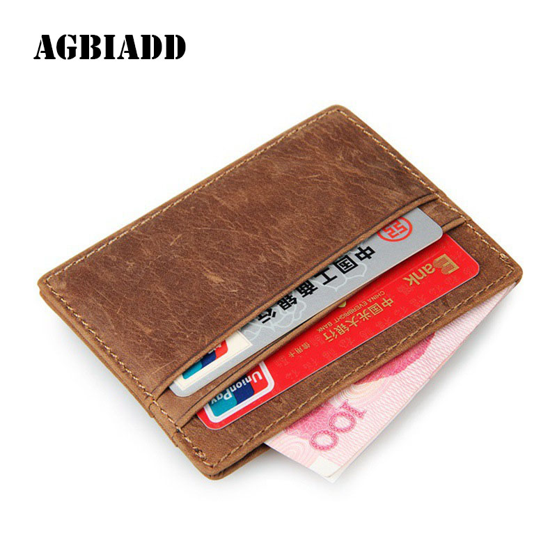 AGBIADD Genuine Cowhide Leather Slim Business Card Holders RFID ...