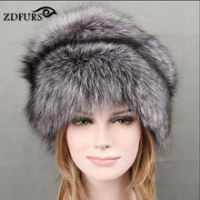 ZDFURS 2017 New Arrival Women Fox Fur Hats Super Luxury Fur Caps with Fox Tails for Russian Female Winter Warm Fur Beanies