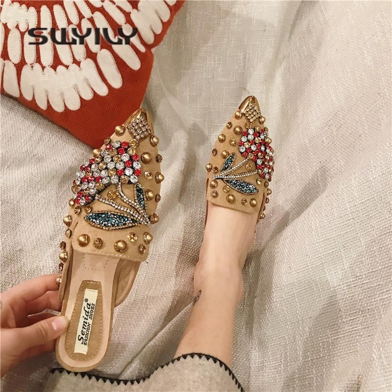 Image 5 - SWYIVY Women Slipper Pointed Toe Crystal Flower 2018 Spring Female Luxury Half Slippers Lady Outside Wear Slides Woman SlippersSlippers   -