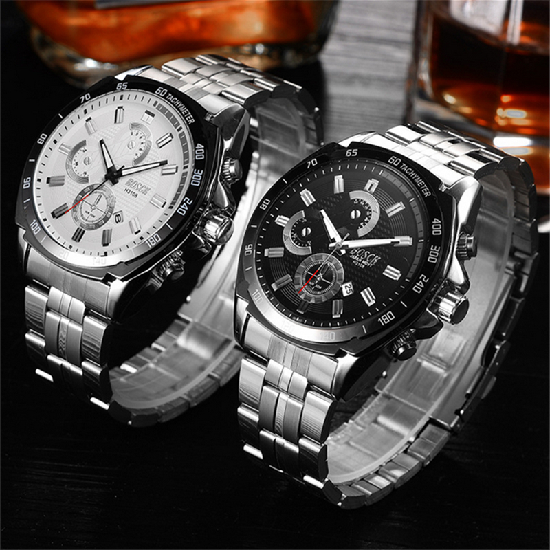Dropship 2018 Fashion Mens Chronograph Black Stainless Steel Mesh Strap Military Sport Quartz Wrist Watches with Luminous Hands ysdx 398 fashion stainless steel self stirring mug black silver 2 x aaa