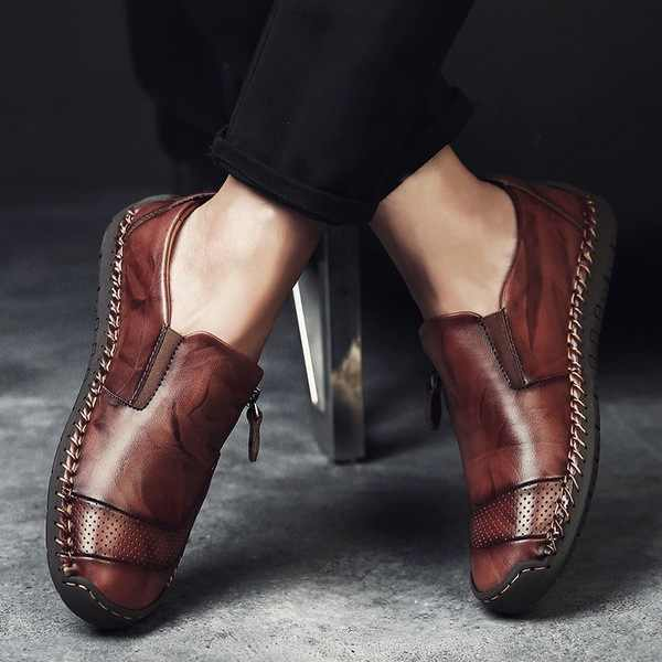 Fashion Genuine Leather Men Shoes Men Casual Brown Black Slip On Loafers Shoes For Men M585