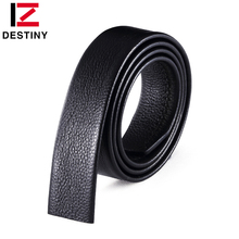 DESTINY good quality cow genuine leather men belt without buckle automatic strap male famous brand 3.5cm black brown no buckle