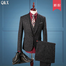 MS53 3 Piece Suits Men British Latest Coat Pant Designs Gray Mens Suit Autumn Winter Thick Slim Fit Plaid Wedding Dress Tuxedo