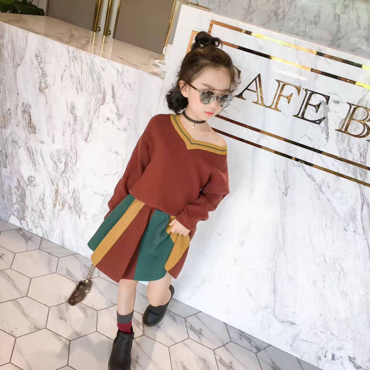 Girl sweater  skirt girl suit 2017 new children's clothes children's princess skirt with knitted blouse two sets