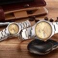 Mulher venda quente Da Moda Homens Relógio de luxo de ouro de aço Inoxidável Amante relógios homem calendário Relógio de Pulso de quartzo pulseira relógios