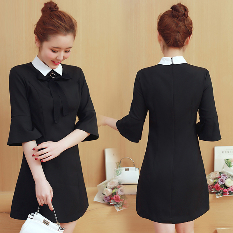 Ladies Work Dress Summer Maternity Formal Blouses Shirts Clothes Half Sleeve Pregnant women Lactation Nursing Long Style Black