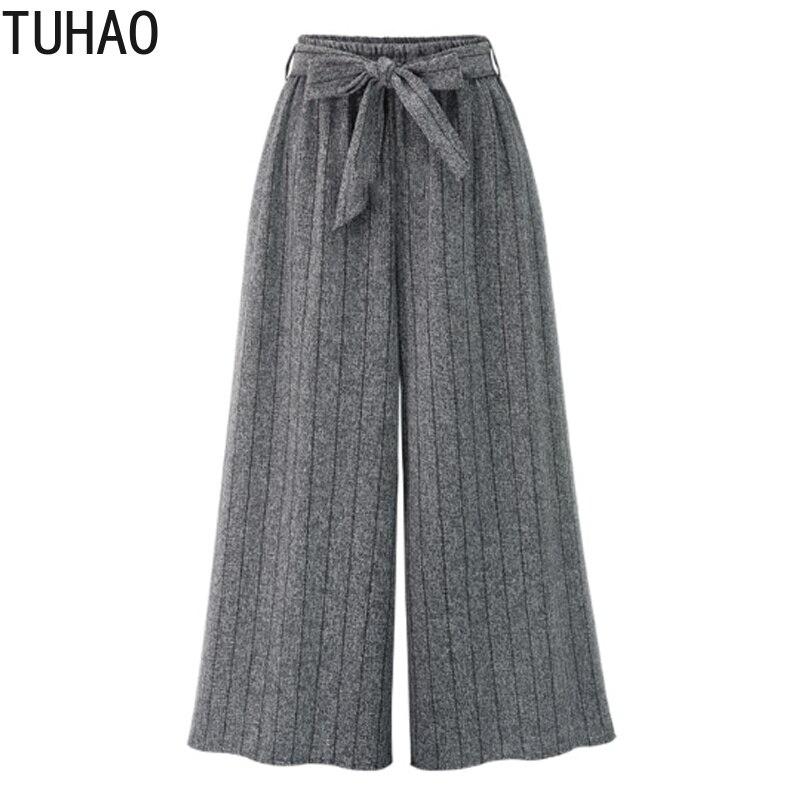 TUHAO   Pants   Women for Office Lady 2018 Fall Women   Wide     Leg     Pants   Plus Size 4XL Ladies Vertical Striped Trousers Loose MKFS