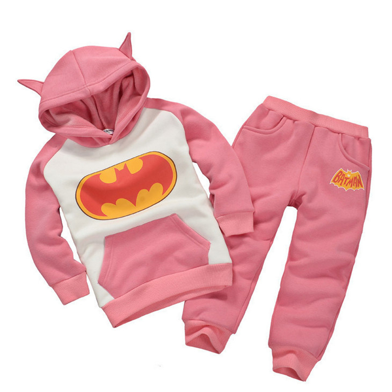 2017 Autumn Cartoon Kids Clothing Sets Girls Clothing Set Hooded Long-sleeved Sports Suit Batman Cotton Boys Clothes Sets Spring