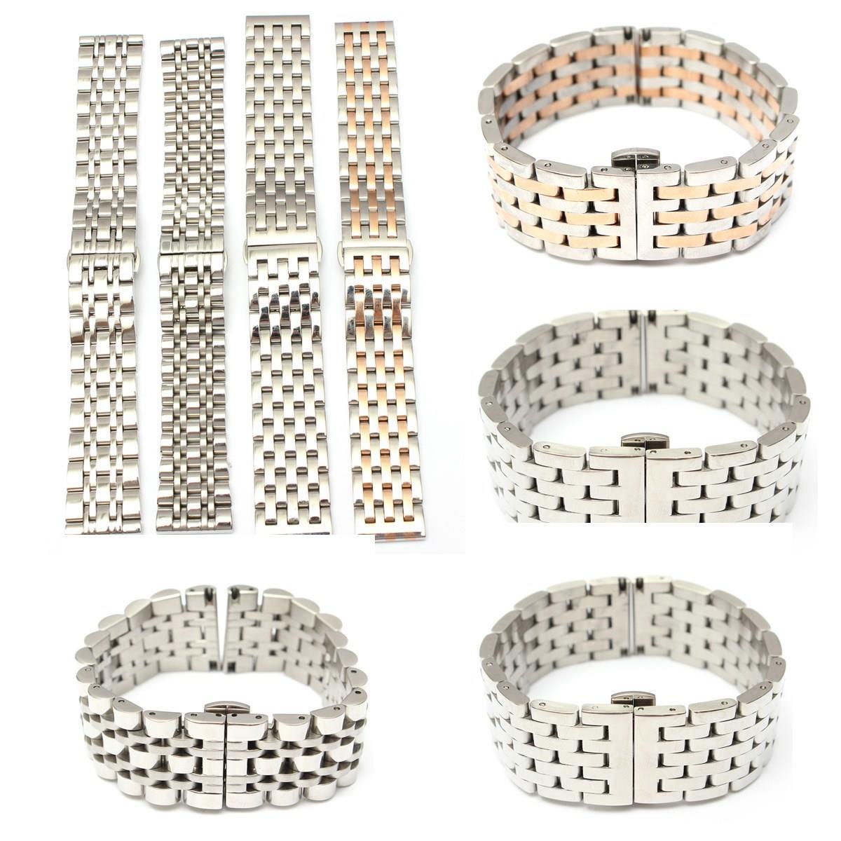 Prix pour 2016 Nouvelle Mode 4 Couleurs de Remplacement En Acier Inoxydable Solide-Liens Bracelet montre Bracelet Curved End 18 20 22mm bracelet